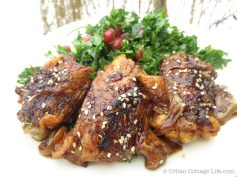 Pomegranate Molasses-Glazed Chicken Thighs | © UrbanCottageLife.com